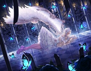 Rating: Safe Score: 126 Tags: animal blonde_hair brown_eyes butterfly cage dress flowers lolita_fashion long_hair original reflection ribbons tagme_(artist) wings User: BattlequeenYume