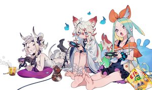 Rating: Safe Score: 53 Tags: animal_ears aqua_hair barefoot blush bukurote chain collar demon dress drink fire flat_chest food foxgirl game_console garter horns japanese_clothes ofuda original pointed_ears purple_eyes red_eyes sake shackles tail third-party_edit white white_hair wristwear yellow_eyes User: otaku_emmy