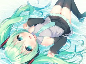 Rating: Safe Score: 43 Tags: blush boots green_eyes green_hair hatsune_miku long_hair mani skirt thighhighs tie twintails vocaloid water wet zettai_ryouiki User: BattlequeenYume