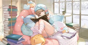 Rating: Safe Score: 86 Tags: anthropomorphism azur_lane barefoot blush book brown_eyes brown_hair cropped glasses gremyashchy_(azur_lane) hat loli manjuu_(azur_lane) pajamas short_hair sleeping stockings yyy_(zelda10010) User: Nepcoheart