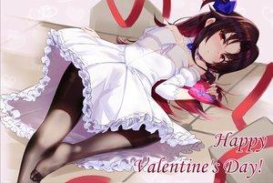 Rating: Safe Score: 64 Tags: blush brown_hair dress kakumayu long_hair pantyhose red_eyes ryuuou_no_oshigoto! skirt_lift valentine yashajin_ai User: RyuZU