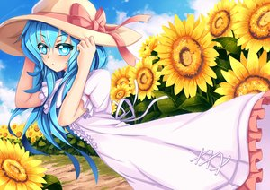 Rating: Safe Score: 89 Tags: aqua_eyes aqua_hair bow date_a_live dress flowers hat long_hair ribbons sekigan sunflower yoshino_(date_a_live) User: ANIMEHTF