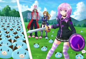 Rating: Safe Score: 19 Tags: 2girls blush braids brown_hair clouds dogoo grass gray_hair green_eyes hyperdimension_neptunia if kazenokaze long_hair male original purple_eyes purple_hair short_hair shorts skirt sky sword tagme_(character) thighhighs weapon User: RyuZU