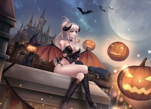 Rating: Safe Score: 79 Tags: animal blue_eyes boots breast_hold breasts building cat choker cleavage demon dungeon_and_fighter elbow_gloves gloves gray_hair halloween kie_(wylee2212) long_hair moon night ponytail pumpkin rooftop succubus tattoo User: BattlequeenYume
