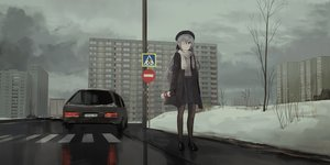 Rating: Safe Score: 68 Tags: building car chihuri405 city clouds dark drink eyepatch gloves gray_eyes gray_hair hat long_hair original pantyhose polychromatic scarf skirt sky snow winter User: ssagwp