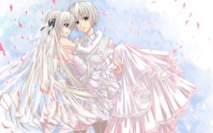 Rating: Safe Score: 59 Tags: dress gloves gray_eyes gray_hair hika_(cross-angel) kasugano_haruka kasugano_sora long_hair male short_hair suit wedding wedding_attire white_hair yosuga_no_sora User: Tensa