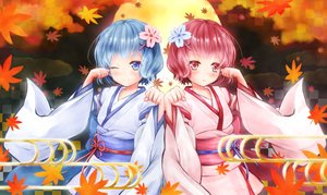 Rating: Safe Score: 22 Tags: 2girls autumn blue_eyes blue_hair blush japanese_clothes kimono leaves moon night pink_eyes pink_hair ram_(re:zero) rem_(re:zero) re:zero_kara_hajimeru_isekai_seikatsu ribbons short_hair sky tagme_(artist) twins User: BattlequeenYume