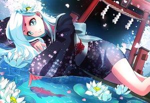 Rating: Safe Score: 85 Tags: animal fish flowers japanese_clothes long_hair marmalade_(elfless_vanilla) torii water watermark white_hair yukata User: gnarf1975