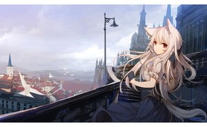 Rating: Safe Score: 78 Tags: animal animal_ears bird braids building city clouds gloves gray_hair long_hair original red_eyes ribbons sagiri_(ulpha220) scenic sky stairs User: RyuZU
