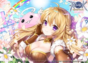 Rating: Safe Score: 41 Tags: applecaramel_(acaramel) blonde_hair breasts butterfly camera cleavage close elbow_gloves flowers gloves logo long_hair petals purple_eyes ragnarok_online rainbow sky User: otaku_emmy