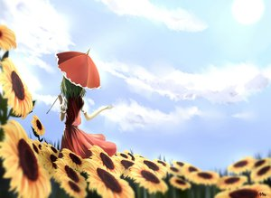 Rating: Safe Score: 70 Tags: clouds flowers grass green_hair kazami_yuuka mito short_hair signed sky sunflower touhou umbrella User: minabiStrikesAgain