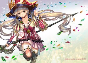 Rating: Safe Score: 49 Tags: blonde_hair breasts choker cleavage hat long_hair orange_eyes original ran'ou_(tamago_no_kimi) staff thighhighs watermark witch witch_hat User: FormX