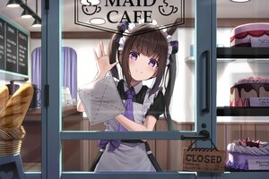 Rating: Safe Score: 94 Tags: apron blush bow brown_hair cake food fruit maid original ponytail purple_eyes strawberry super_pig twintails waitress User: あかり