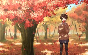 Rating: Safe Score: 38 Tags: autumn brown_eyes brown_hair forest leaves original school_uniform short_hair signed tree umiroku User: RyuZU