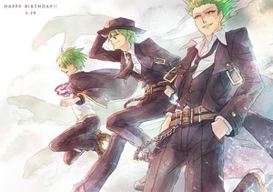 Rating: Safe Score: 32 Tags: blazblue cape chain green_hair hat hazama male suit tie yellow_eyes User: STORM