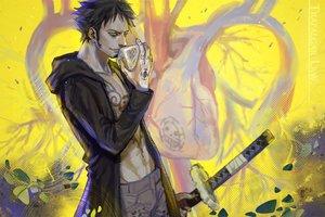 Rating: Safe Score: 24 Tags: all_male black_hair kirayoci male one_piece short_hair sword tattoo trafalgar_law weapon yellow_eyes User: RyuZU