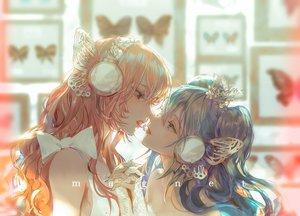 Rating: Safe Score: 87 Tags: 2girls blue_hair butterfly close hatsune_miku headphones kiss long_hair magnet_(vocaloid) megurine_luka pink_hair say_hana shoujo_ai vocaloid User: FormX