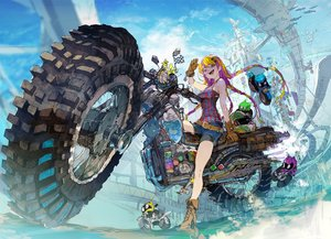 Rating: Safe Score: 51 Tags: boots braids building city clouds demizu_posuka gloves long_hair motorcycle original pink_eyes reflection shorts sky watermark wristwear User: otaku_emmy