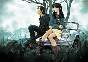 Rating: Safe Score: 50 Tags: boots car gainax katsuragi_misato male neon_genesis_evangelion ryoji_kaji sadamoto_yoshiyuki signed tree watermark User: RyuZU