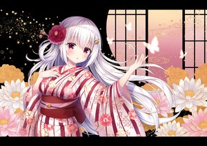 Rating: Safe Score: 82 Tags: aliasing blush butterfly flowers japanese_clothes long_hair mitsuba_choco original red_eyes white_hair User: BattlequeenYume