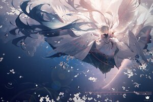 Rating: Safe Score: 41 Tags: dress green_hair hatsune_miku long_hair rainbow reflection signed sky spencer_sais stars twintails vocaloid water watermark wings User: BattlequeenYume