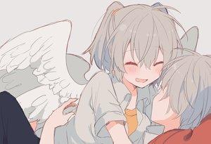 Rating: Safe Score: 45 Tags: angel angel_chromosome_xx anthropomorphism blush close gray_hair hug ikeuchi_tanuma male neon_genesis_evangelion short_hair sketch tabris tabris-xx twintails waifu2x wings User: otaku_emmy