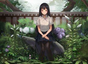 Rating: Safe Score: 50 Tags: black_hair fjsmu flowers long_hair original pantyhose purple_eyes skirt User: RyuZU
