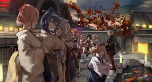 Rating: Safe Score: 62 Tags: animal anthropomorphism blue_hair breasts building cat cleavage dp-12_(girls_frontline) fan fish food girls_frontline gray_hair group headband japanese_clothes pink_hair sakippo_(sakippo0) signed tabuk_(girls_frontline) tagme_(character) taiyaki water User: BattlequeenYume