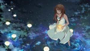 Rating: Safe Score: 114 Tags: barefoot brown_hair dress long_hair night petals sky water User: aubrnova