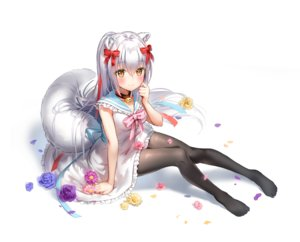 Rating: Safe Score: 72 Tags: aliasing animal_ears bell bow collar dress flowers gray_hair lolita_fashion long_hair marmoset pantyhose school_uniform tail User: BattlequeenYume