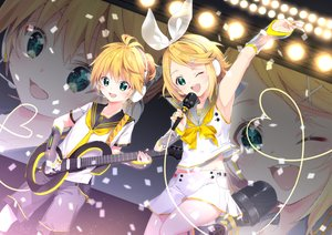 Rating: Safe Score: 19 Tags: arami_o_8 blonde_hair green_eyes guitar instrument kagamine_len kagamine_rin male microphone vocaloid wink User: FormX