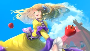 Rating: Safe Score: 16 Tags: apple brown_hair clouds dress eiyuden_chronicle:_hundred_heroes food fruit green_eyes lolita_fashion long_hair perrielle_grum rizihike signed sky User: RyuZU