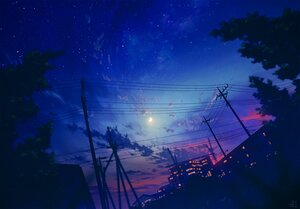 Rating: Safe Score: 62 Tags: building city clouds mocha_(cotton) moon night nobody original polychromatic signed silhouette sky stars sunset tree User: otaku_emmy