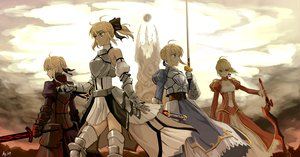 Rating: Safe Score: 330 Tags: armor artoria_pendragon_(all) as109 blonde_hair braids dress fate_(series) fate/stay_night green_eyes group nero_claudius_(fate) ponytail saber saber_alter saber_lily short_hair sword weapon yellow_eyes User: Tensa
