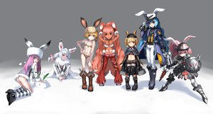 Rating: Safe Score: 68 Tags: animal_ears armor boots bunny_ears bunnygirl hat observerz original pink_hair red_hair User: HawthorneKitty