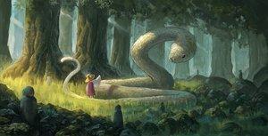 Rating: Safe Score: 61 Tags: animal fjsmu forest grass hat loli moriya_suwako snake touhou tree User: RyuZU
