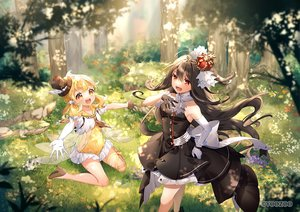 Rating: Safe Score: 49 Tags: 2girls dress elbow_gloves flowers forest gloves grass loli long_hair red:_pride_of_eden sumomo_kaze tagme_(character) tree twintails waifu2x User: BattlequeenYume