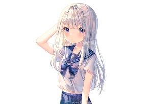 Rating: Safe Score: 68 Tags: albinoraccoon blush gray_hair long_hair original purple_eyes school_uniform signed skirt stars white User: otaku_emmy
