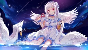 Rating: Safe Score: 126 Tags: animal anthropomorphism azur_lane bird clouds crown cygnet_(azur_lane) dress jpeg_artifacts kazucha night red_eyes sky stars wand white_hair wings User: BattlequeenYume