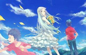 Rating: Safe Score: 39 Tags: ano_hi_mita_hana_no_namae_wo_bokutachi_wa_mada_shiranai aqua_eyes clouds dress flowers honma_meiko nanatsu_maka petals sky sunflower yadomi_jinta User: HawthorneKitty