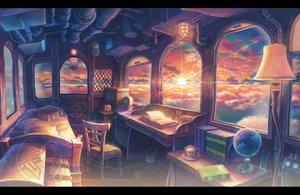 Rating: Safe Score: 102 Tags: airship bed book clouds drink kemi_neko nobody original scenic sky sunset User: FormX