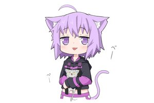 Rating: Safe Score: 28 Tags: animal animal_ears cat catgirl chibi hololive hoodie kinka nekomata_okayu purple_eyes purple_hair short_hair tail white User: otaku_emmy
