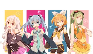 Rating: Safe Score: 75 Tags: blue_eyes blue_hair bow cosplay ene_(kagerou_project) goggles green_hair headphones kagerou_project kido_tsubomi kisaragi_momo kozakura_mary long_hair orange_hair red_eyes short_hair shorts skirt tie twintails vocaloid white_hair wink wowishi User: STORM
