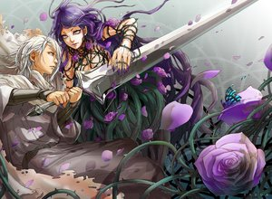 Rating: Safe Score: 3 Tags: butterfly cape flowers gray_eyes long_hair male purple_eyes purple_hair rose short_hair sword tagme_(artist) watermark weapon white_hair User: BattlequeenYume