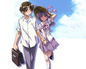 Rating: Safe Score: 11 Tags: asaba_naoyuki blush brown_eyes brown_hair clouds iriya_kana iriya_no_sora_ufo_no_natsu purple_hair red_eyes school_uniform short_hair User: Oyashiro-sama