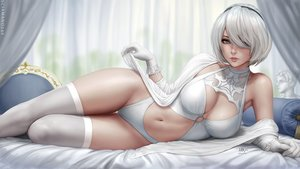 Rating: Safe Score: 90 Tags: bed blue_eyes breasts cleavage gloves headband leotard navel nier nier:_automata realistic sciamano240 short_hair signed thighhighs watermark white_hair yorha_unit_no._2_type_b User: mattiasc02