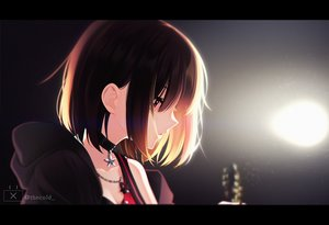 Rating: Safe Score: 83 Tags: bang_dream! brown_hair choker close guitar hoodie instrument mitake_ran necklace red_eyes short_hair the_cold watermark User: Dreista