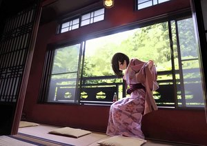 Rating: Safe Score: 65 Tags: black_hair brown_eyes drink japanese_clothes kimono original sakeharasu scenic shade short_hair tree User: otaku_emmy