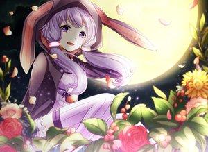 Rating: Safe Score: 82 Tags: flowers hoodie moon night petals purple_eyes purple_hair thighhighs twintails vocaloid voiceroid yamagara yuzuki_yukari zettai_ryouiki User: luckyluna