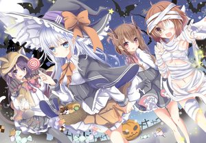 Rating: Safe Score: 85 Tags: akatsuki_(kancolle) aliasing animal_ears anthropomorphism aqua_eyes aruka_(alka_p1) bandage blush bow brown_eyes brown_hair candy catgirl cosplay demon dress eyepatch food gloves gray_eyes group halloween hat hibiki_(kancolle) hoodie horns ikazuchi_(kancolle) inazuma_(kancolle) kantai_collection lollipop long_hair navel night pumpkin purple_hair red_eyes skirt tail white_hair witch witch_hat User: luckyluna